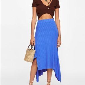 Zara asymmetric royal blue knit skirt medium NWT